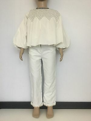 Missoni Girls Kids 2 Piece Outfit Set White Cream Shirt Jeans Age 4 Zig Zag Vgc