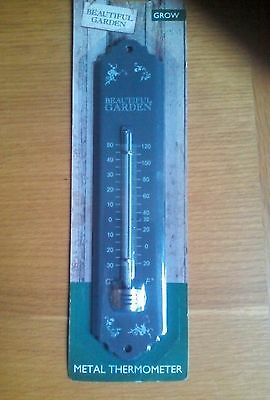 Metal Garden Outdoor Thermometer. 22cm / 9 inches, Celsius and Farenheit