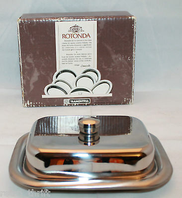 Tramontina Rotonda Inox Stainless Steel 18/10 Covered Butter Dish Lid 6273