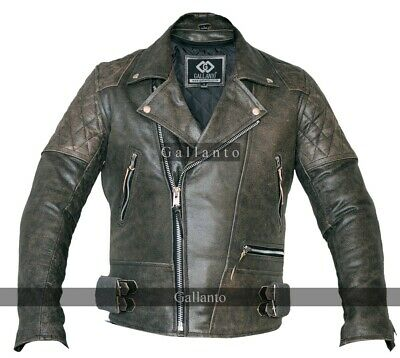 Classic Motorcycle Motorbiker Distressed Leather Jacket Diamond Amoured Stonewas