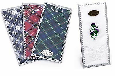 Ladies/Womens Hanky Tartan Butterfly Floral Quality Gift Box Handkerchiefs Multi