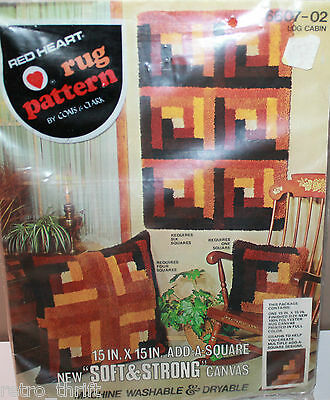 Red Heart Rug Pattern Coats & Clark 6607-02 Log Cabin 15 x 15 Add-A-Square
