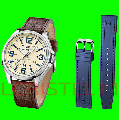 Tommy Hilfiger Men's Leather Watch & Interchangeable Navy Silicone Strap 1791207