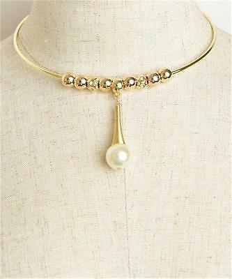 NEW..Stunning Gold or Silver Bling Glam Choker Necklace With Faux Pearl
