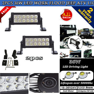 2X 36W 6INCH LED Work Light Bar Driving Lamp Flood Truck Offroad UTE 4WD SUV