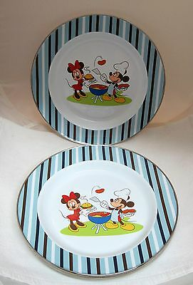 Lot of 6 Disney Store Metal Dinner Plates Mickey Minnie Mouse Summer Fun BBQ