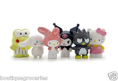 6pcs New Anime Cartoon Hellokitty My Melody Frog Octopus DIY Action Figure Gift