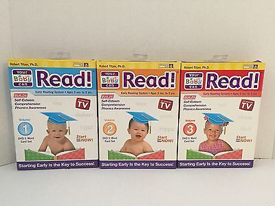 YOUR BABY CAN READ VOLS 1-3 PLUS CARDS EARLY LANGUAGE DEVELOPMENT Dvds