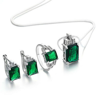 Princess Green Emerald 925 Silver Crystal Earrings Necklace Ring Set Jewelry