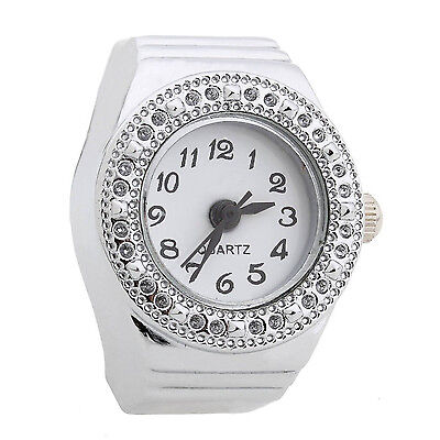 Ring Watch Quartz Silver Alloy Round Sphere for Women Dame WS