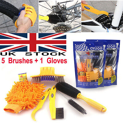6pcs Bicycle Cleaing Tool kits Chain Cleaner+Tire Brushes+Bike Cleaning gloves