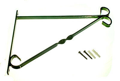 """Box Of 4 Brackets For 14 """" Hanging Basket Green Plastic Coated Steel + Fixings"""