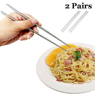 2 Pares Palillos Acero Inoxidable Anti-skip Hilo Estilo Stainless Chopsticks