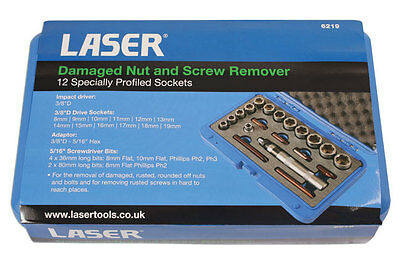 "LASER TOOLS Damaged Nut and Screw Remover extractor 12pc 3/8"" 6219"
