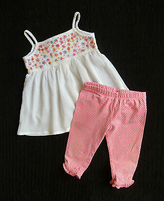 Baby clothes GIRL 18-24m outfit cotton white embroider top/pink short leggings