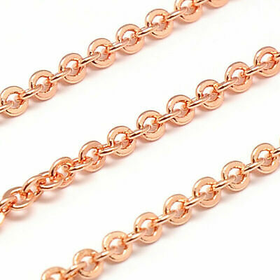 2m/Roll Electroplate Brass Cross Chains Rose Gold 2.5mm Jewelry DIY Crafting