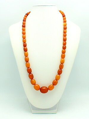 Vintage Genuine Natural Butterscotch Graduated Amber Bead Necklace 44.1 Grams