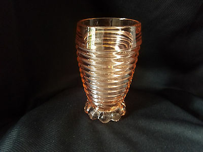 Anchor Hocking Pink Manhattan Footed Tumblers