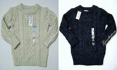 CHILDREN'S PLACE Toddler Boys BLUE~BEIGE Chunky Sweater Pullover Cable Knit NEW