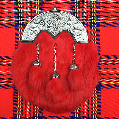 Scottish Kilt Sporran Red Rabbit Fur Celtic Cantle/Kilt Sporrans/Mens Sporrans