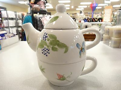 VIGOR 3 PC BUTTERFLY, DRAGONFLY, FLORAL DESIGN Tea For One, Teapot, Cup &  Lid