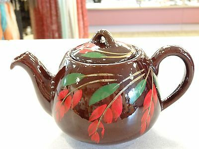 Vintage CANADIAN ART POTTERY TEAPOT CANADA ROYAL DRIPLESS GLAZED REDWARE