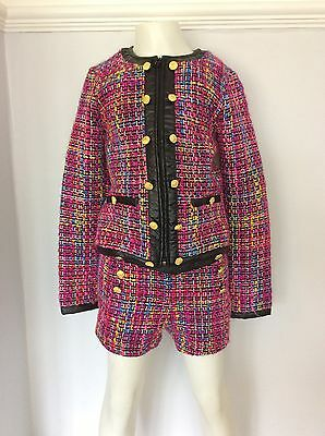 SUPERTRASH girls Jacket & Short Set Outfit Size 140 Age 8-9 Years Wool Pink