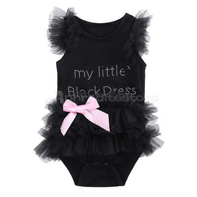 Infant Baby Girls Clothes My Little Black Dress Lace Bodysuit Romper Outfits