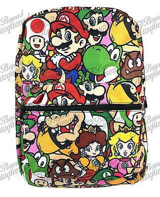 "16"" Super Mario Brothers Team School Backpack All Over Print Book Bag"