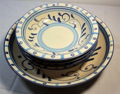 Set of Casa Domani Toscana 4 Soup Bowls and 1 Serving Bowl Hand Painted