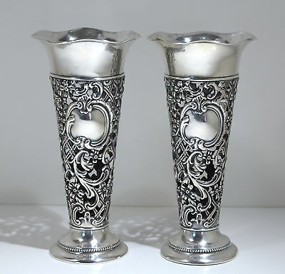 Gorham Sterling Silver Pierced Pair of Vases Early 20th Century