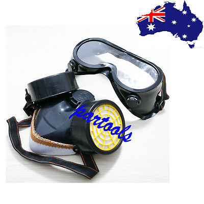 AU Industrial Gas Respirator Chemical Paint Anti-Dust Face Mask Eye Glasses