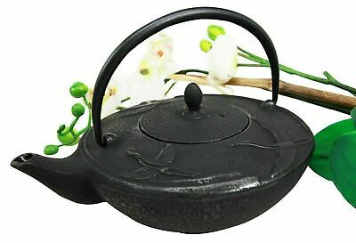Japanese Black Cast Iron Three Asian Crane Design Tea Pot Tetsubin 24 fl oz