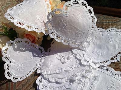 Two Lovely White Heart Shape Hand Batten Lace Embroidery Flower Doily