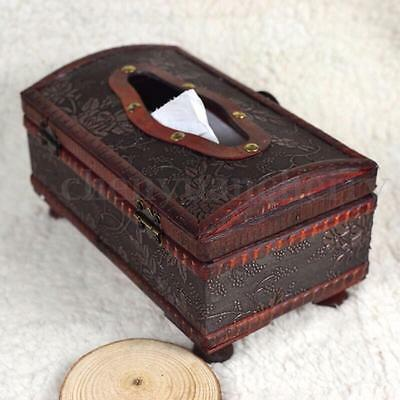 Vintage Wooden Tissue Box Cover Pumping Paper Hotel Car Home Decor Napkin Holder