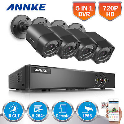 ANNKE 720P Video 4CH HDMI 1080N DVR 1800TVL Home Outdoor Security Camera System