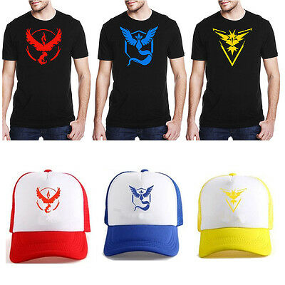 For Pokemon Go Halloween Cosplay Cap Team Valor Mystic Instinct T shirt Costume