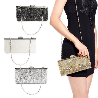 Anladia Sac A Main Soiree Brillant Besace Pochette Argent Dore Evening Bag