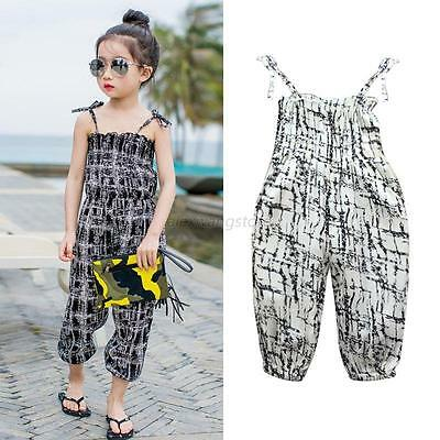 2-7T Kids Girl Strap One Piece Floral Pants Romper Jumpsuit Trousers Outfits