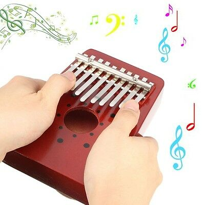 10Keys Children Red Wooden Thumb Kalimba Piano Traditional Musical Instrument