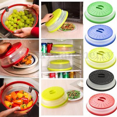 HOT Collapsible Microwave Plate Cover Colander Strainer Easy Storage 2 in 1 Tool