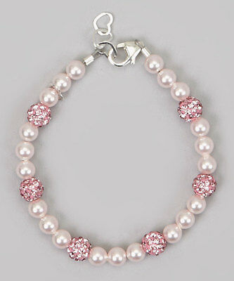 Pink Pearls with Pink Sparkly Pave Beads Bracelet