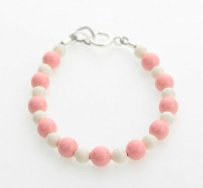 Pink and White Coral Pearls Beaded Bracelet