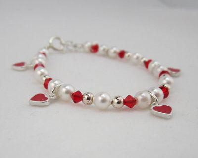 White Pearls and Red Crystals with Sterling Silver Enamel Hanging Hearts Bracele