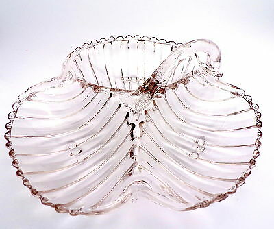 Three Section Pressed Clear Glass Handled Hors d'Oeurves Shell Dish, Vintage