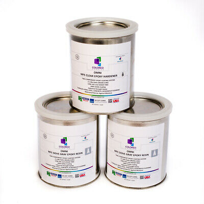 Light Gray Epoxy Resin 100% Solids For Garage Floor, Concrete, Plywood. 3 Qt Kit