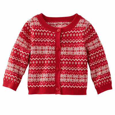 OshKosh B'gosh Baby Girls Red Fair Isle Cardigan Sweater Cotton~Acrylic 18M NWT