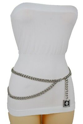 Women Waist Hip Silver Metal Chain Chunky Links Belt Lion Charm Plus Size M L XL