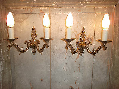 French a pair of  gorgeous  wall light bronze gold patina of time vintage