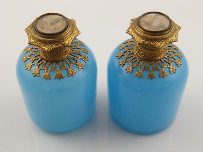 Pr French Opaline Glass & Gilded Purfume Bottles – Painted Scene Tops